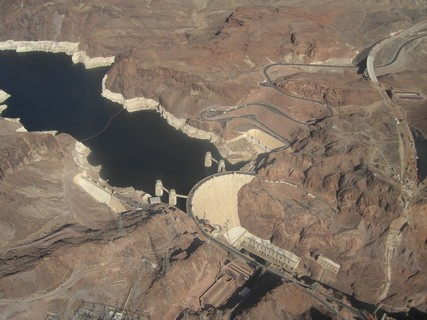 Hoover Dam and Lake Mead from above